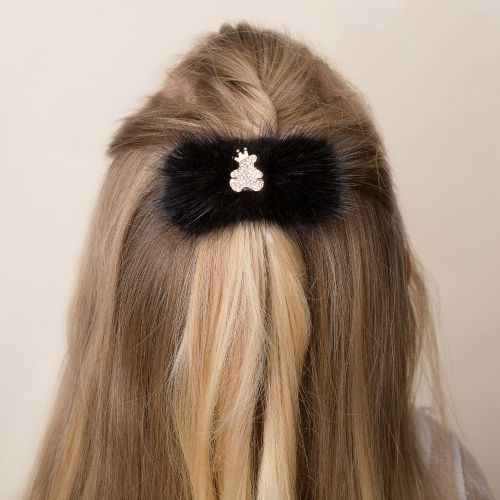 Cute Cute Black Teddy Fur Hair Clip